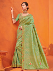 Green Two Tone Silk Jacquard Party Wear Saree With Blouse