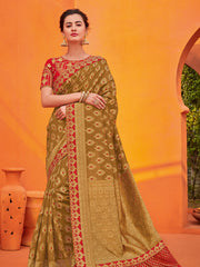 Brown  Gold Two Tone Silk Jacquard Party Wear Saree With Blouse