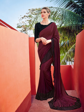 Purple Imported Fabric Party Wear Saree With Black Blouse