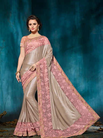 Beige Silk Saree With Peach Blouse