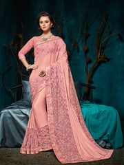 Pink Georgette Saree With Pink Blouse