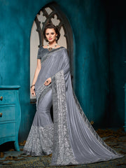 Grey Chiffon Saree With Grey Blouse