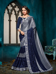 Blue & Grey Silk Saree With Blue Blouse