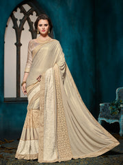 Beige Silk Saree With Beige Blouse