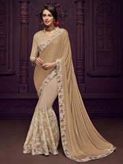 Beige Imported Fabrics Party Wear  Saree With Beige Blouse