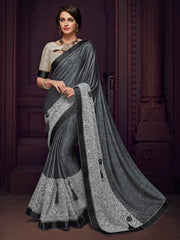 Grey Imported Fabrics Party Wear  Saree With Beige Blouse