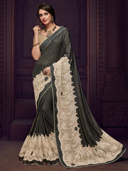 Black Imported Fabrics Party Wear  Saree With Gold  Blouse