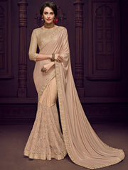 Beige Imported Fabrics Party Wear  Saree With Gold  Blouse