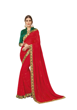 Red  Party Wear Saree With Green Blouse