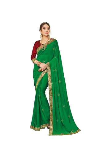 Green Chiffon Party Wear Saree With Maroon Blouse