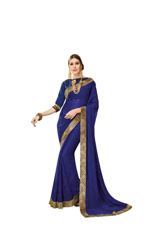 Navy Blue  Party Wear Saree With Navy Blue Blouse
