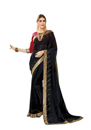Black Chiffon Party Wear Saree With Maroon Blouse
