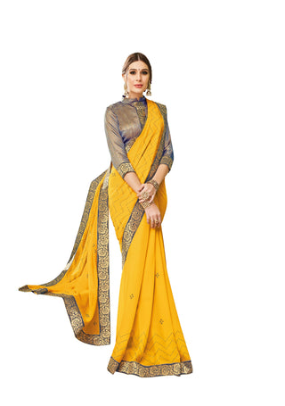 Yellow  Party Wear Saree With Brown Blouse