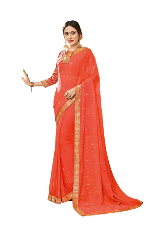 Orange  Party Wear Saree With Orange Blouse