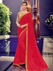 Red Chiffon Party Wear Saree With Golden Blouse