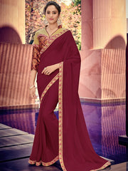 Maroon Chiffon Party Wear Saree With Golden Blouse