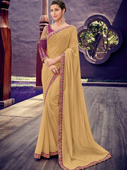 Beige Chiffon Party Wear Saree With Purple Blouse
