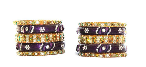 Purple and Gold Glass Bangles
