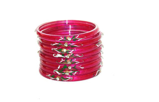 designer pink glass bangles set with gem work