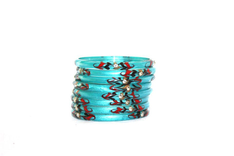 Designer skyblue bangle set