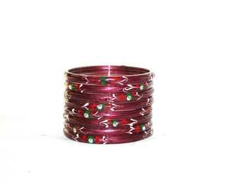 Designer handmade glass bangle set