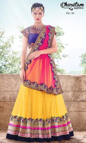 Saree Yellow , Pink,Chiffon