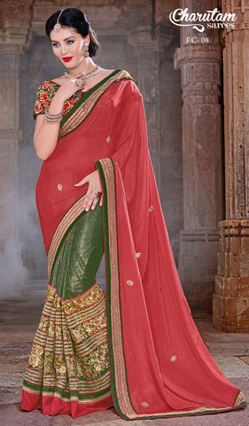 Saree Red , green,Georgette