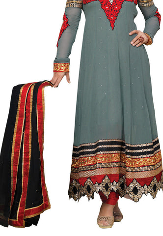 Grey Georgette Party Wear suits