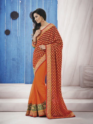 Orange jacquard saree with contrasting green blouse with work