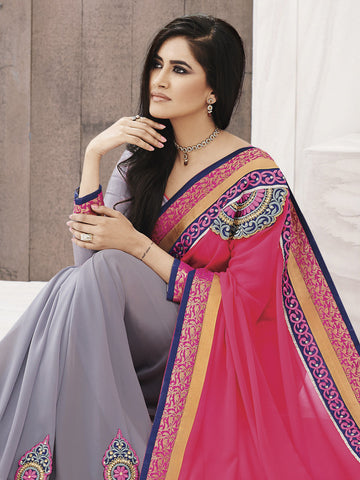 Grey georgette saree with pink pallu
