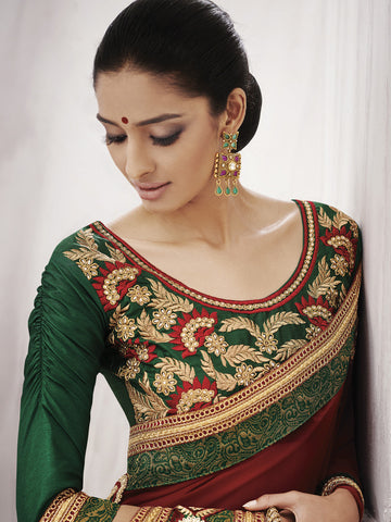 Red (Wine ) saree with green contrasting blouse