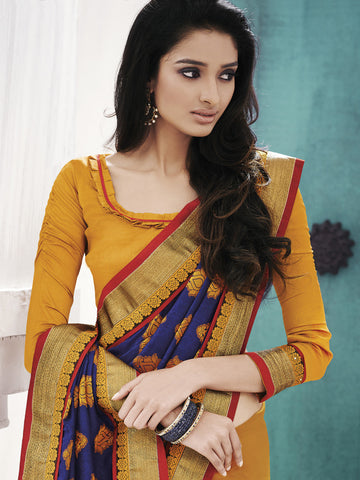 Yellow and violet jacquard half and half saree