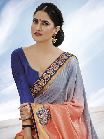 Multicolored fancy jacquard thick border saree with blue color blouse