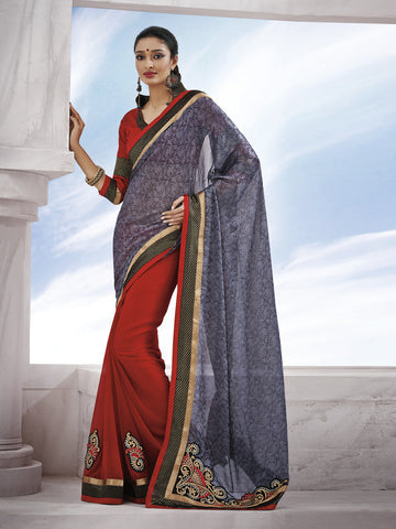 Red fancy saree with grey contrasting pallu