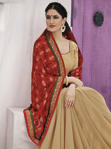 Georgette designer beige saree with red pallu and raw silk blouse