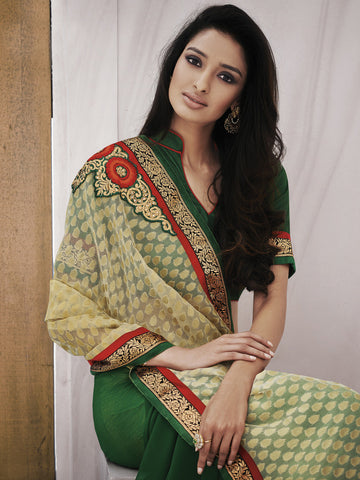 Fancy Jacquard Sarees, Green Color Sarees,