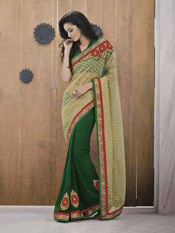 Green Color Sarees with Raw Silk Blouse ,A latest Design Saree