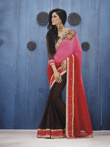 Double shaded pink and red pallu saree with brown color skirt base and blouse