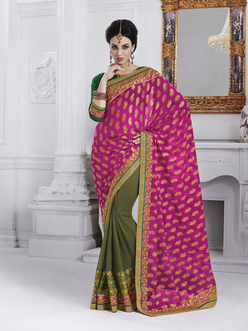 Georgette saree with magenta pink pallu and green blouse