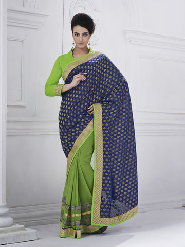 Green and blue combination georgette saree and blouse of raw silk