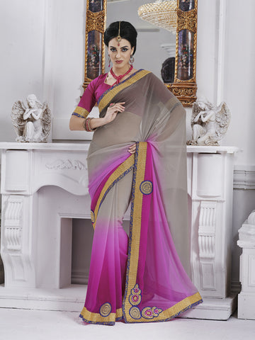 Pink and grey shaded georgette saree