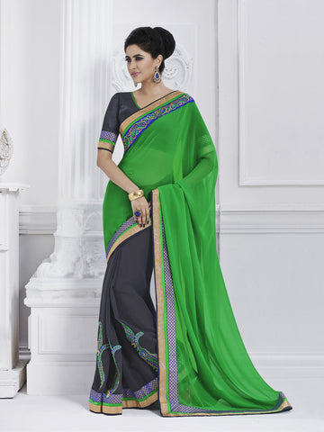 Viscose Green and blue designer saree with  raw silk blouse