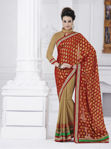 Silk jacquard red and beige saree