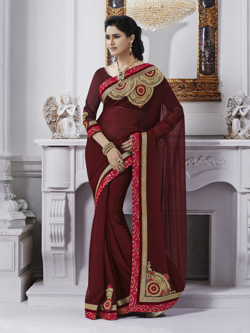 Red wine color saree with work on pallu