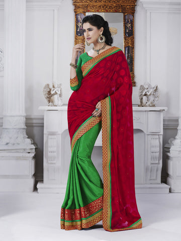Green georgette saree with contrasting pallu