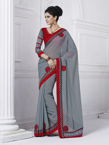 Fancy Saree,Jacquard Saree, Half and Half Saree, Red Saree, Grey Saree, saree with blouse