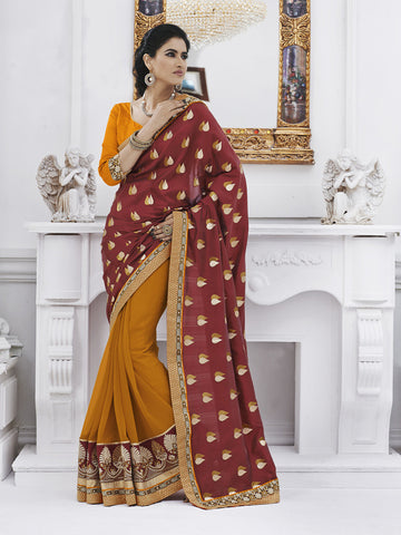 Yellow and red georgette saree for women