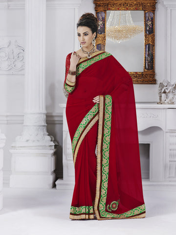 Red designer jacquard saree with green border
