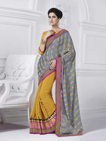 Yellow and grey saree with heavy pink border
