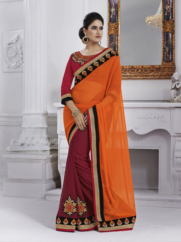 Red and orange chiffon saree